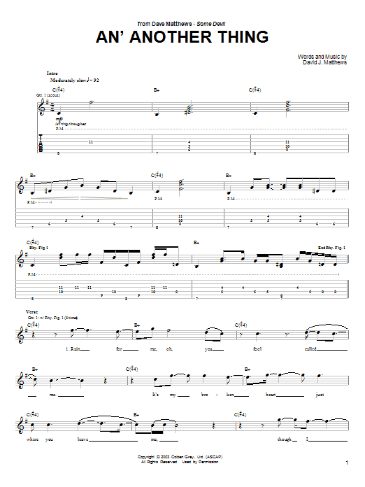 Tablature guitare An' Another Thing de Dave Matthews - Tablature Guitare