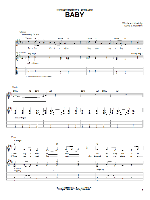 Tablature guitare Baby de Dave Matthews - Tablature Guitare