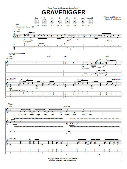 Gravedigger sheet music for guitar solo (tablature) by Dave Matthews Band