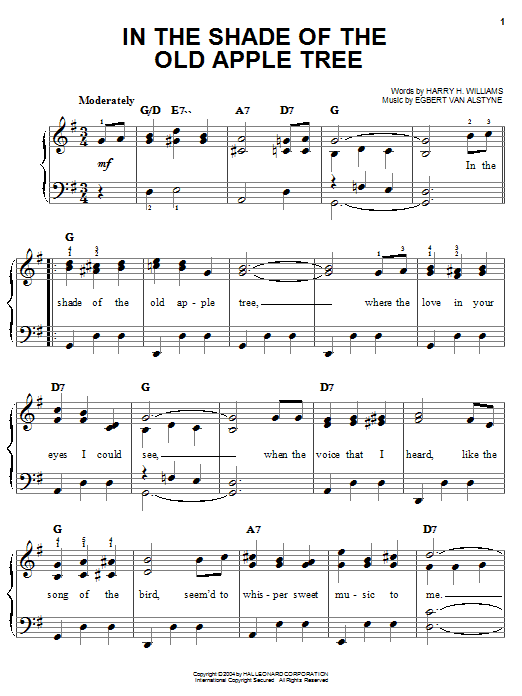 Partition piano In The Shade Of The Old Apple Tree de Louis Armstrong - Piano Facile
