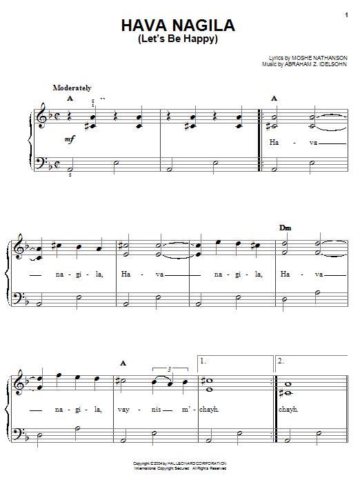 Partition piano Hava Nagila (Let's Be Happy) de Moshe Nathanson - Piano Facile