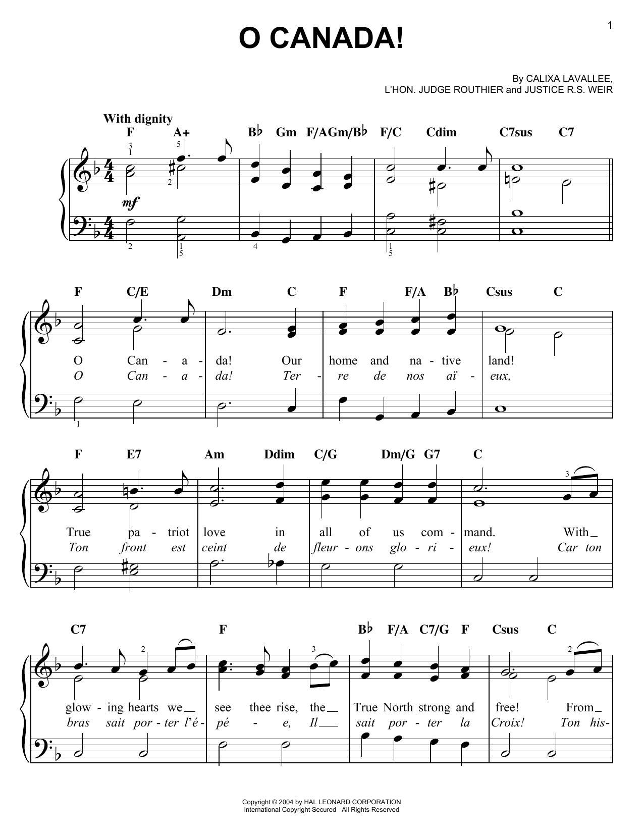 Partition piano O Canada! de Calixa Lavallee - Piano Facile