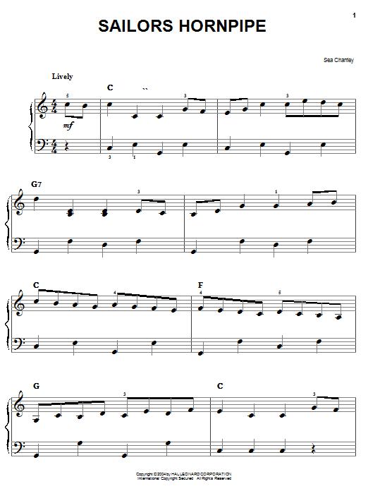 Partition piano The Sailor's Hornpipe de Traditional - Piano Facile
