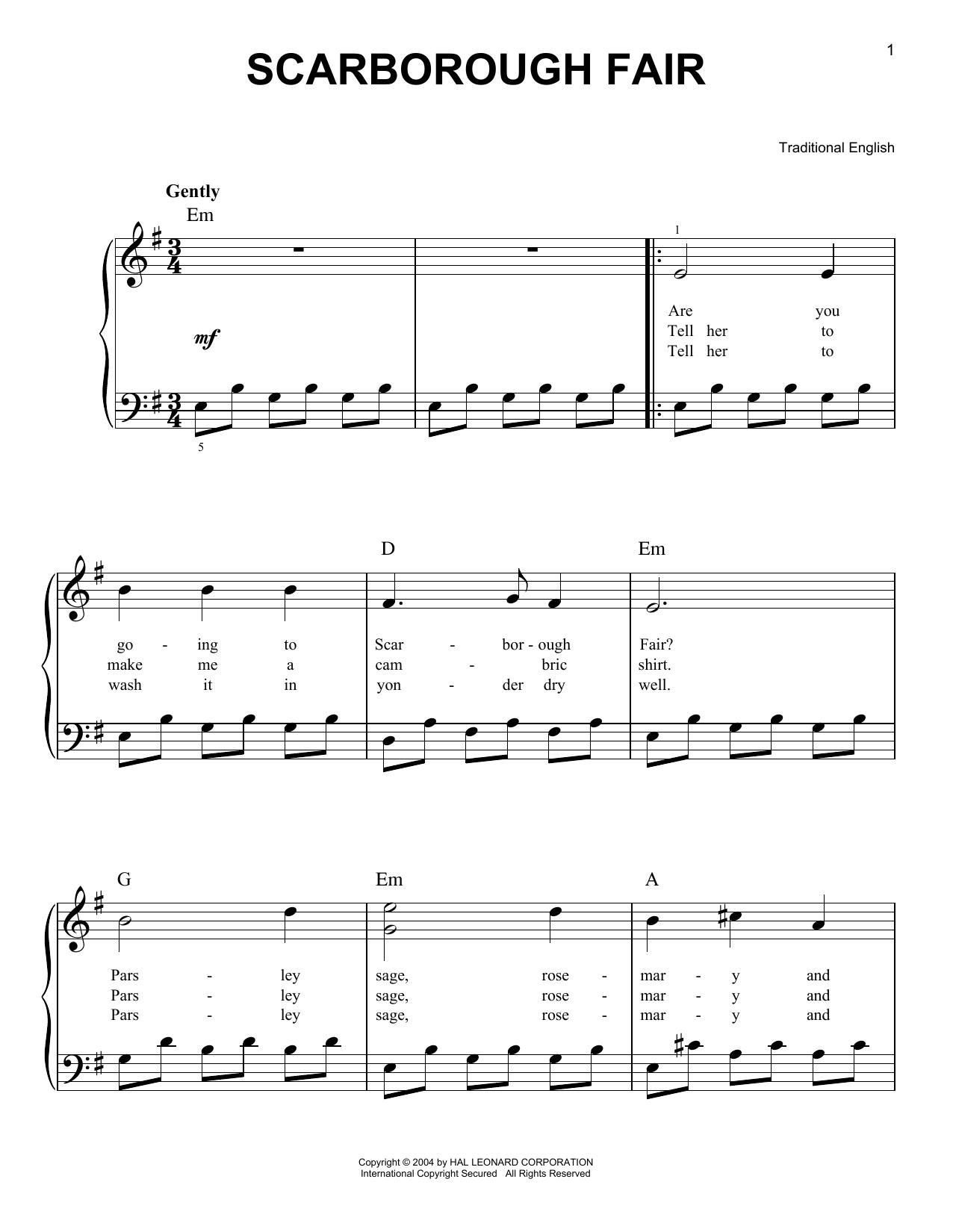 Partition piano Scarborough Fair de Traditional English - Piano Facile