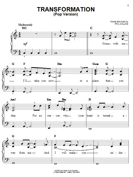 Partition piano Transformation (Pop Version) (from Walt Disney's Brother Bear) de Phil Collins - Piano Facile