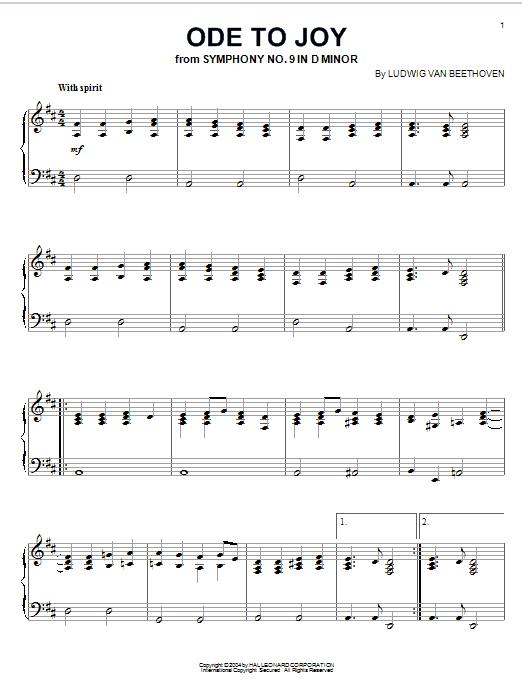 Partition piano Ode To Joy de Henry van Dyke - Piano Solo