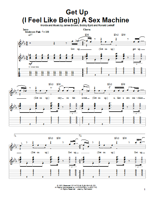 Get Up (I Feel Like Being) A Sex Machine sheet music for guitar solo (tablature, play-along) by Ronald Lenhoff