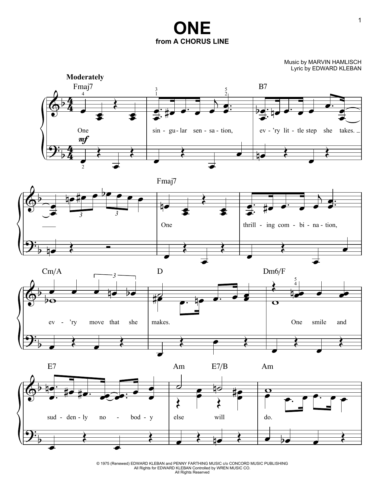 One sheet music for piano solo (chords) by Edward Kleban
