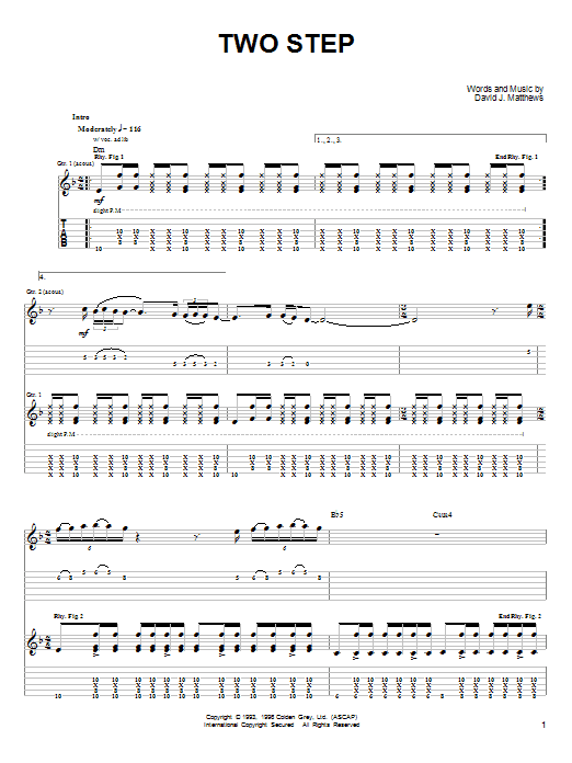 Tablature guitare Two Step de Dave Matthews & Tim Reynolds - Tablature Guitare