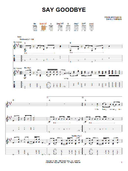 Tablature guitare Say Goodbye de Dave Matthews & Tim Reynolds - Tablature Guitare