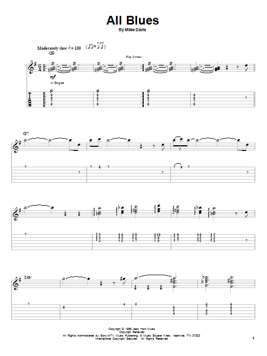 All Blues sheet music for guitar solo (tablature, play-along) by Miles Davis