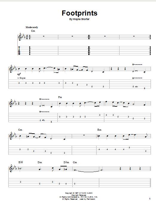 Tablature guitare Footprints de Wayne Shorter - Tablature Guitare