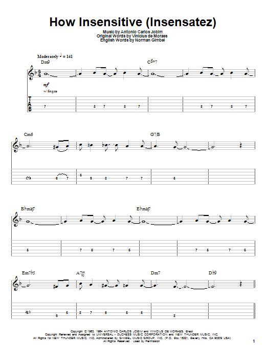 Tablature guitare How Insensitive (Insensatez) de Astrud Gilberto - Tablature Guitare
