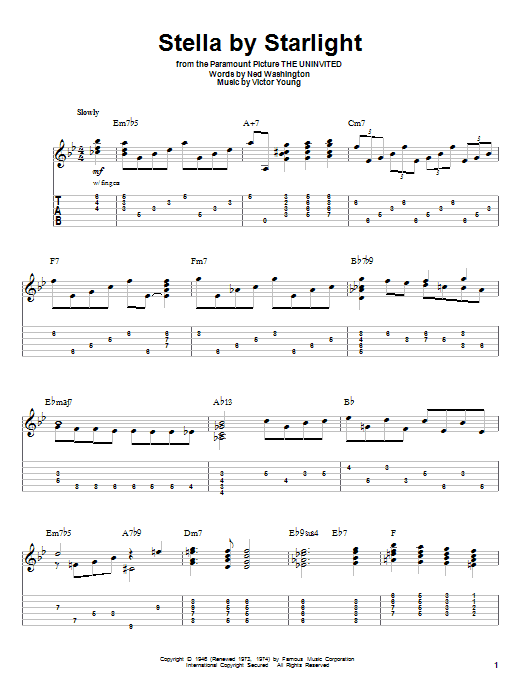 Tablature guitare Stella By Starlight de Ray Charles - Tablature Guitare