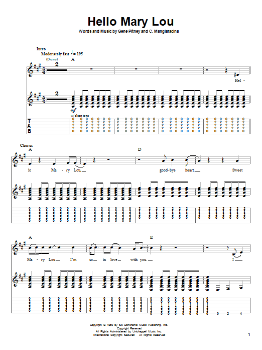Hello Mary Lou sheet music for guitar solo (tablature, play-along) by Gene Pitney