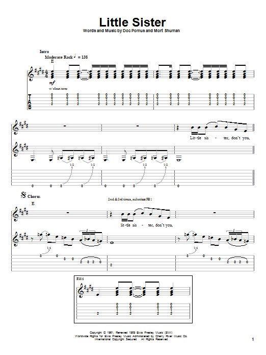 Tablature guitare Little Sister de Elvis Presley - Tablature Guitare