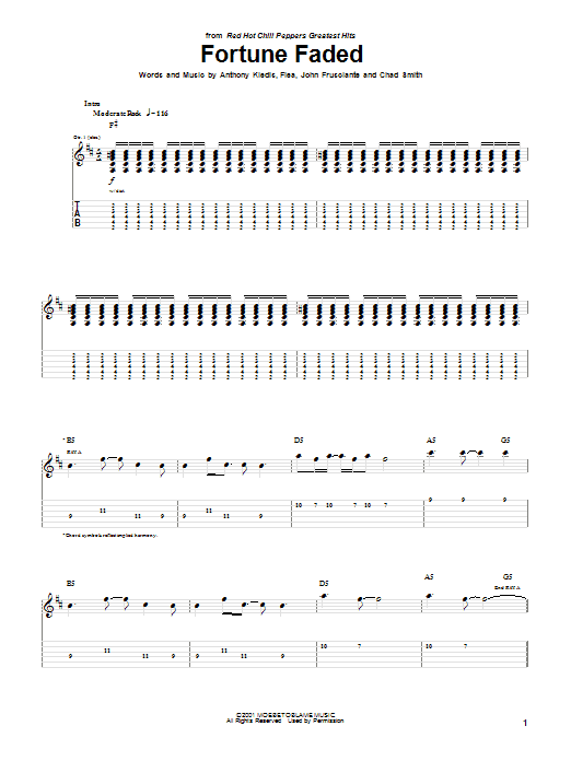 Tablature guitare Fortune Faded de Red Hot Chili Peppers - Tablature Guitare