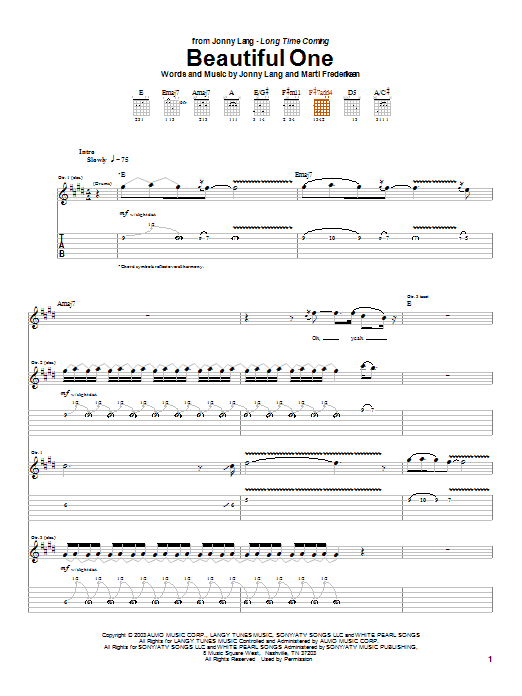 Tablature guitare Beautiful One de Jonny Lang - Tablature Guitare