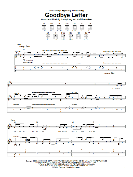 Tablature guitare Goodbye Letter de Jonny Lang - Tablature Guitare