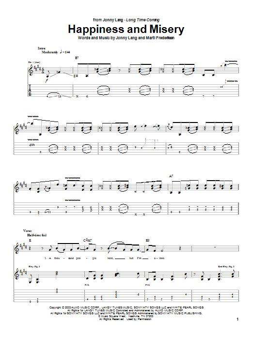 Tablature guitare Happiness And Misery de Jonny Lang - Tablature Guitare