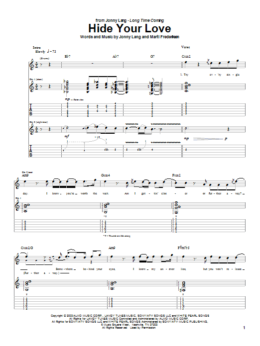 Hide Your Love sheet music for guitar solo (tablature) by Marti Frederiksen
