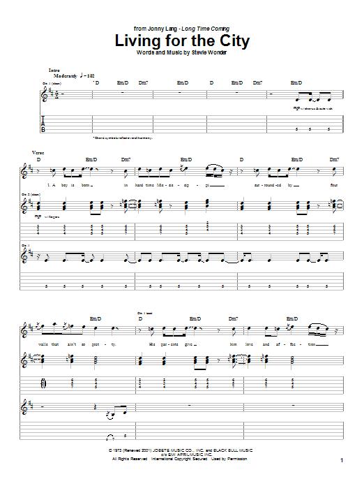 Tablature guitare Living For The City de Stevie Wonder - Tablature Guitare