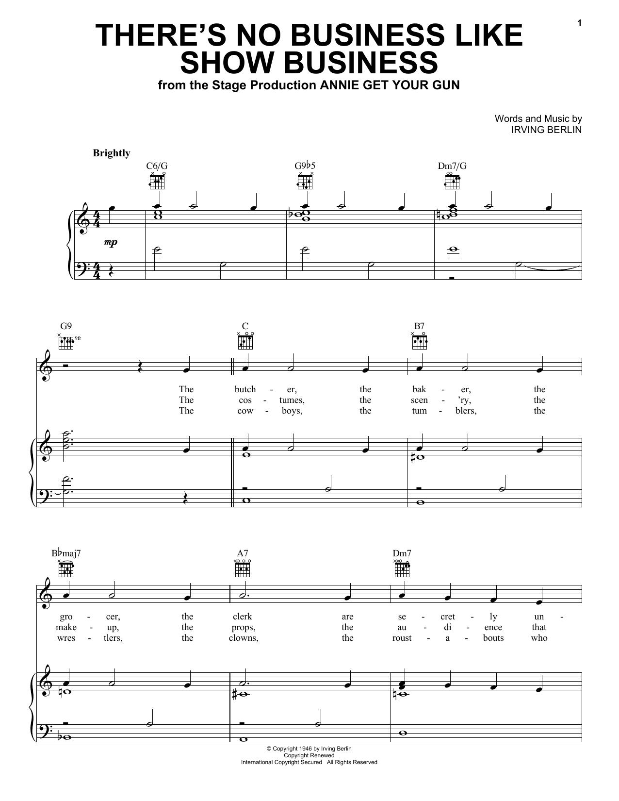 Partition piano There's No Business Like Show Business de Ethel Merman - Piano Voix Guitare (Mélodie Main Droite)