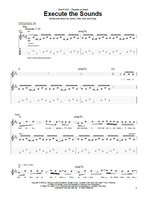 Tablature guitare Execute The Sounds de P.O.D. (Payable On Death) - Tablature Guitare
