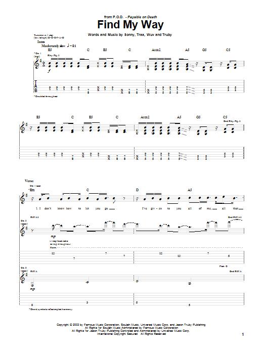 Tablature guitare Find My Way de P.O.D. (Payable On Death) - Tablature Guitare