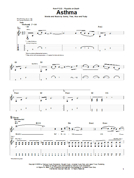 Asthma sheet music for guitar solo (tablature) by P.O.D.