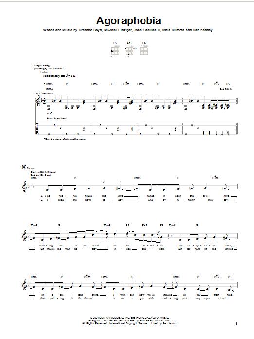 Tablature guitare Agoraphobia de Incubus - Tablature Guitare