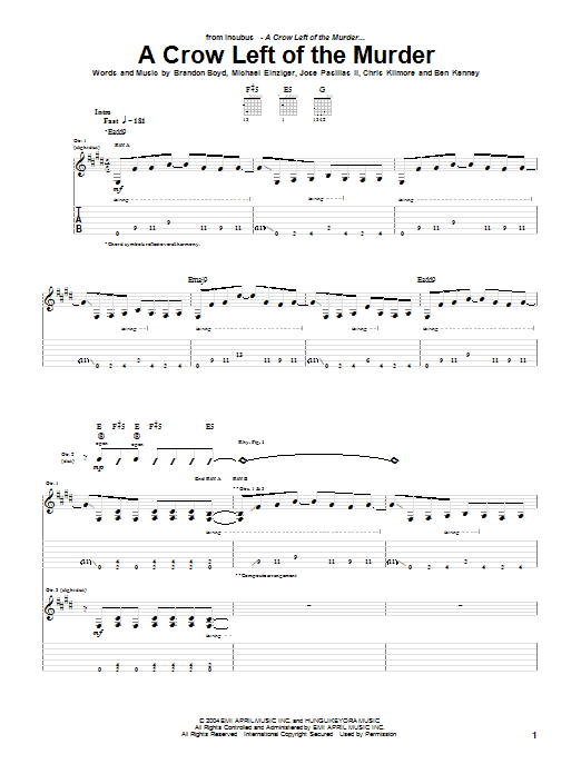 A Crow Left Of The Murder sheet music for guitar solo (tablature) by Michael Einziger