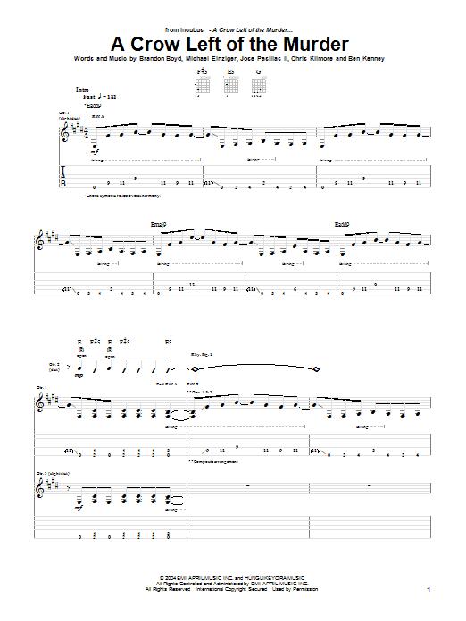 Tablature guitare A Crow Left Of The Murder de Incubus - Tablature Guitare