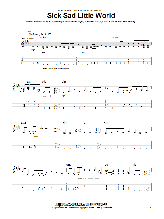 Tablature guitare Sick Sad Little World de Incubus - Tablature Guitare