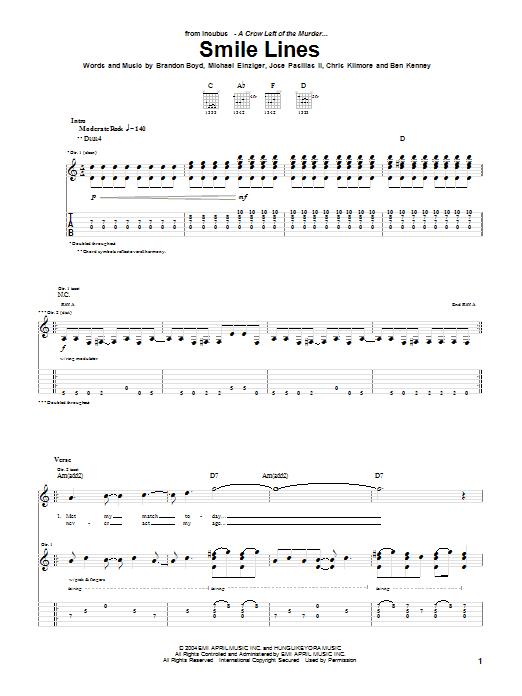 Tablature guitare Smile Lines de Incubus - Tablature Guitare