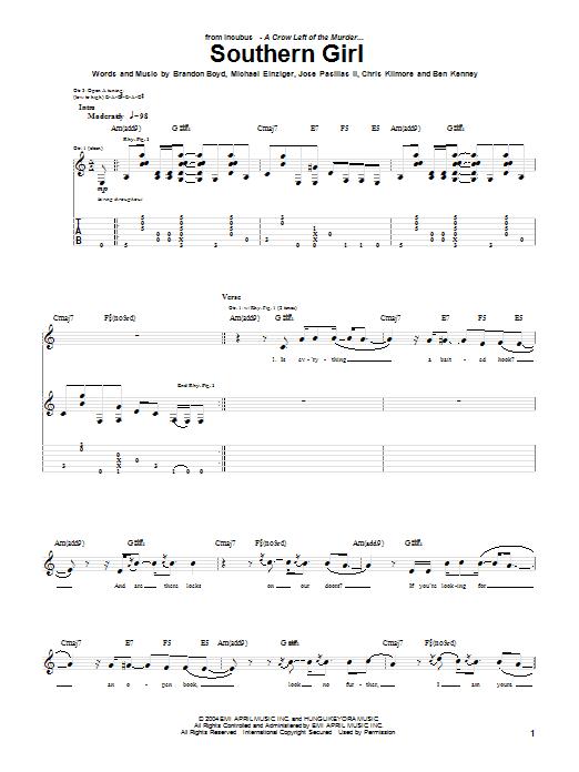 Tablature guitare Southern Girl de Incubus - Tablature Guitare
