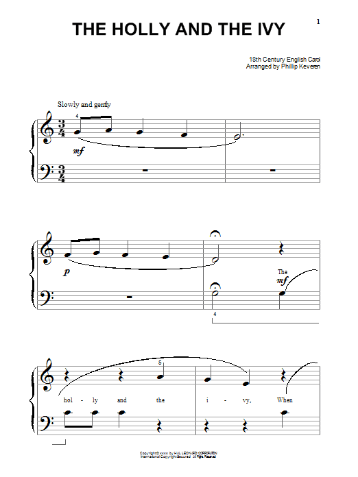 Partition piano The Holly And The Ivy de Christmas Carol - Piano Facile