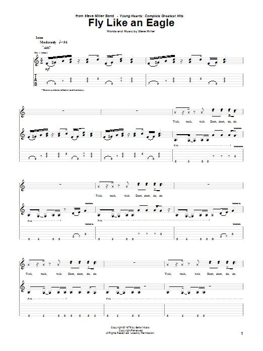 Tablature guitare Fly Like An Eagle de Steve Miller Band - Tablature Guitare