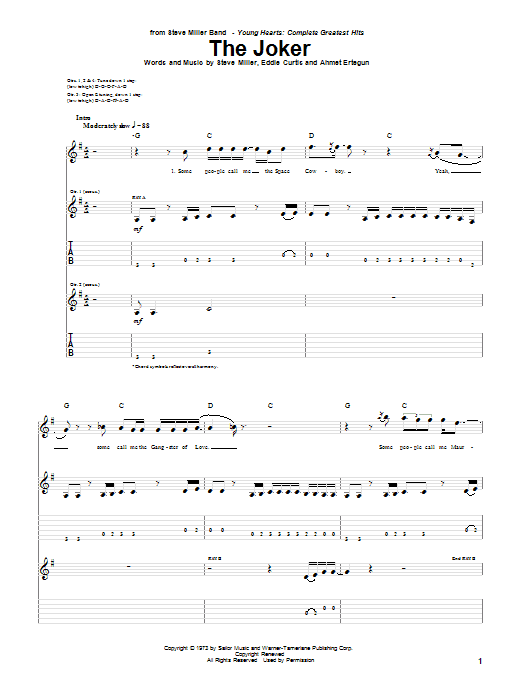 Tablature guitare The Joker de Steve Miller Band - Tablature Guitare