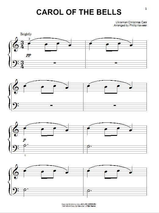 Partition piano Carol Of The Bells de Traditional Ukrainian Carol - Piano Facile