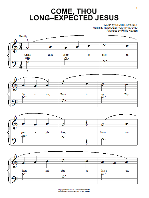 Partition piano Come, Thou Long-Expected Jesus de Charles Wesley - Piano Facile
