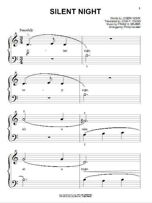 Partition piano Silent Night de Joseph Mohr - Piano Facile