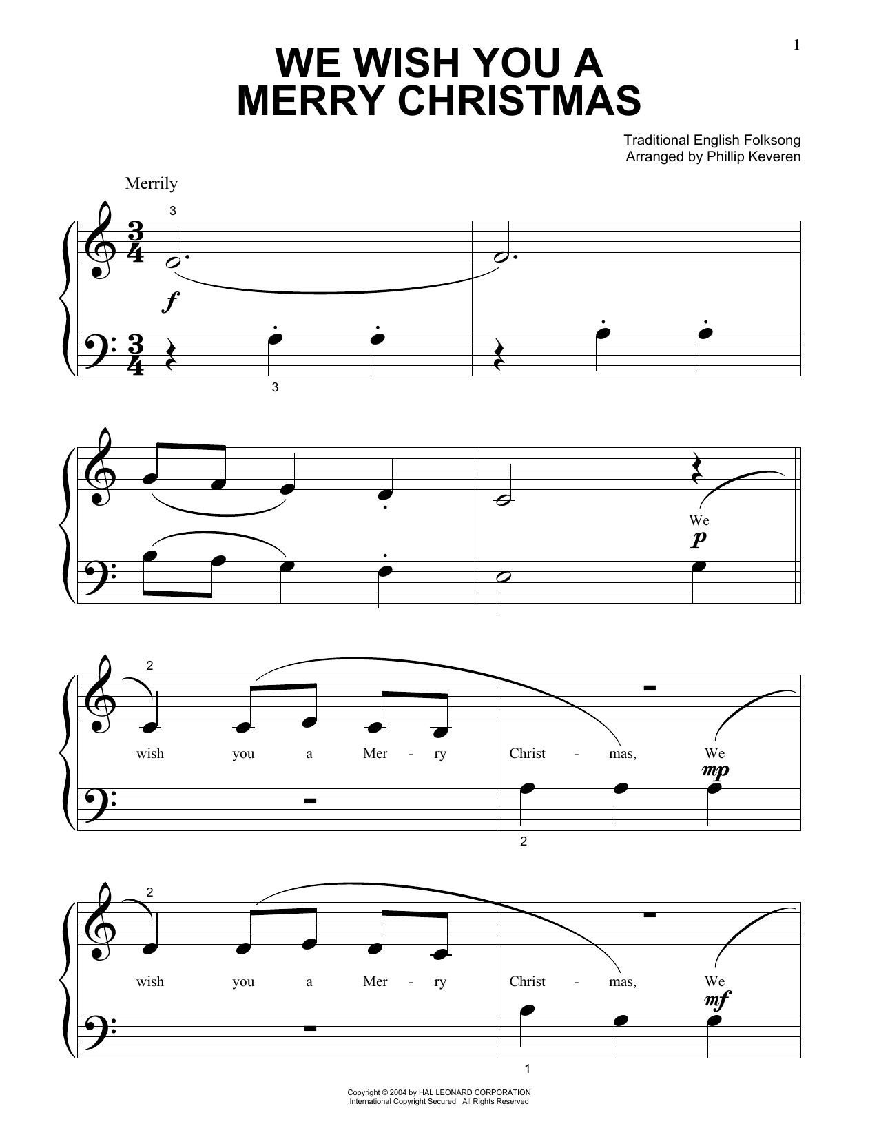 Partition piano We Wish You A Merry Christmas de Traditional English Folksong - Piano Facile