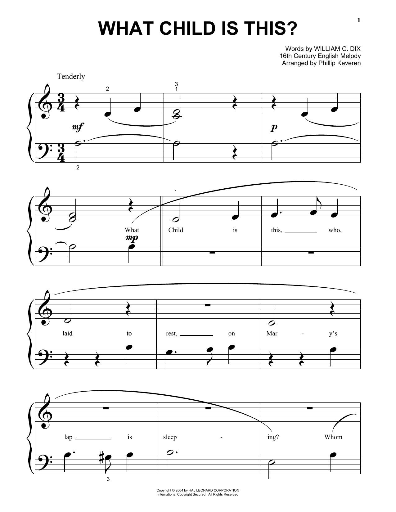 Partition piano What Child Is This? de William C. Dix - Piano Facile