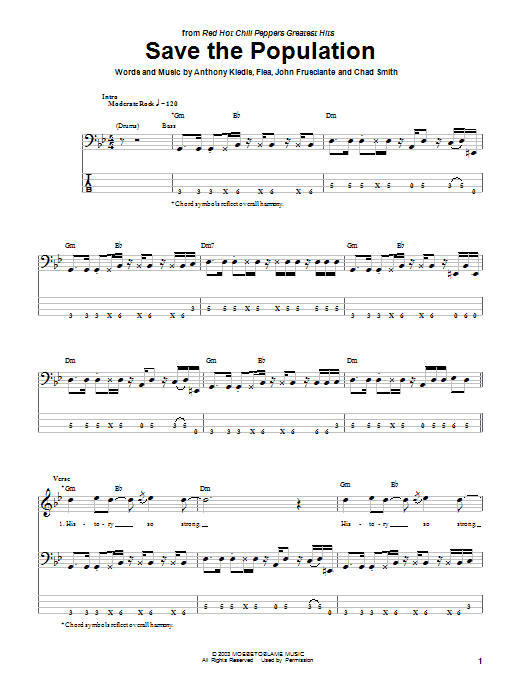 Tablature guitare Save The Population de Red Hot Chili Peppers - Tablature Basse