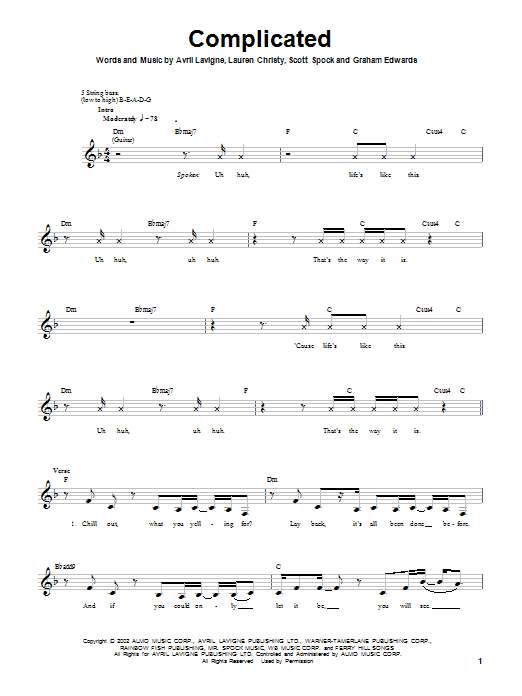 Tablature guitare Complicated de Avril Lavigne - Tablature Basse