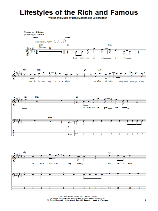 Tablature guitare Lifestyles Of The Rich And Famous de Good Charlotte - Tablature Basse