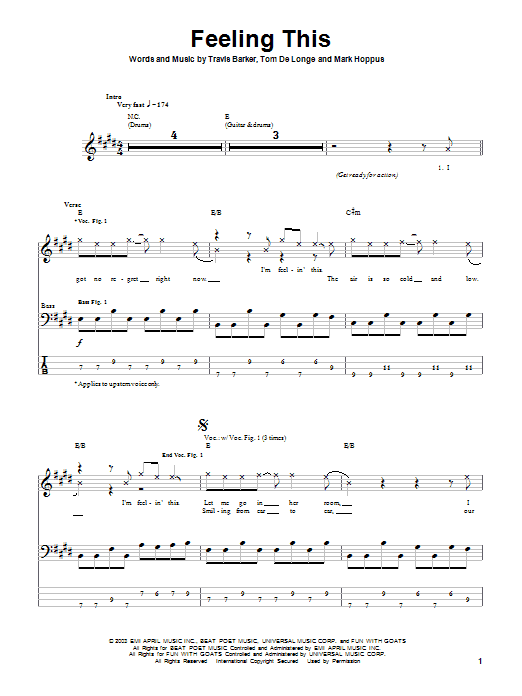 Feeling This sheet music for bass (tablature) (bass guitar) by Travis Barker