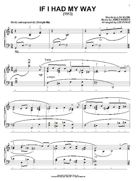Partition piano If I Had My Way de Lou Klein - Piano Solo