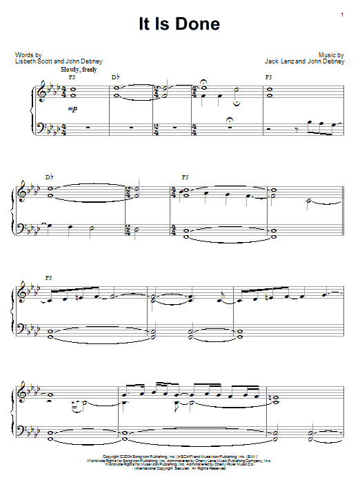 It Is Done sheet music for piano solo by Lisbeth Scott